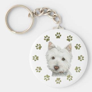 Cute Westie Dog Art and Paws Basic Round Button Keychain
