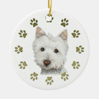 Cute Westie Dog Art and Paws Double-Sided Ceramic Round Christmas Ornament