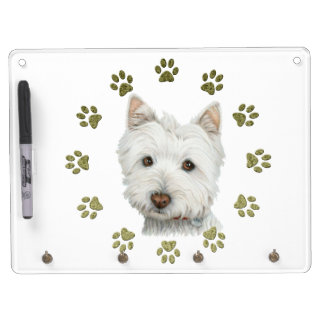 Cute Westie Dog Art and Paws Dry Erase Board With Keychain Holder