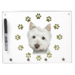 Cute Westie Dog Art and Paws Dry Erase Whiteboard