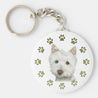Cute Westie Dog Art and Paws Keychain
