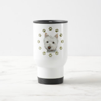 Cute Westie Dog Art and Paws Coffee Mugs