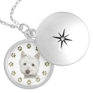 Cute Westie Dog Art and Paws Round Locket Necklace