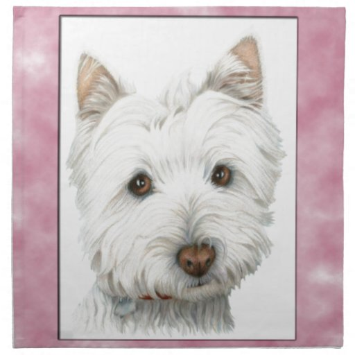 Cute Westie Dog Art in Pink Frame Napkins