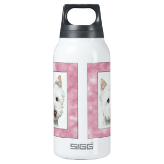 Cute Westie Dog Art in Pink Frame Thermos Bottle