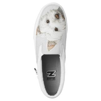 Cute Westie Dog Art Zip Slip on Shoes