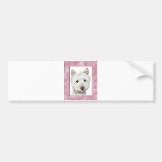 Cute Westie Dog in Pink Frame Art Bumper Sticker