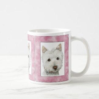 Cute Westie Dog in Pink Frame Art Coffee Mug