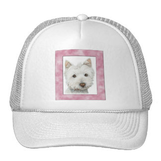 Cute Westie Dog in Pink Frame Art Trucker Hat