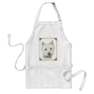 Cute Westie Dog with torn paper edges design Adult Apron