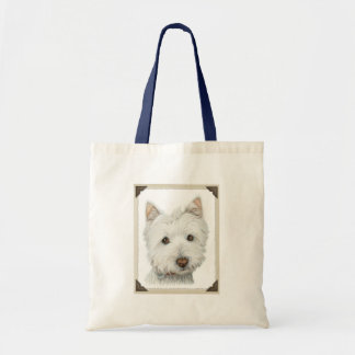 Cute Westie Dog with torn paper edges design Budget Tote Bag