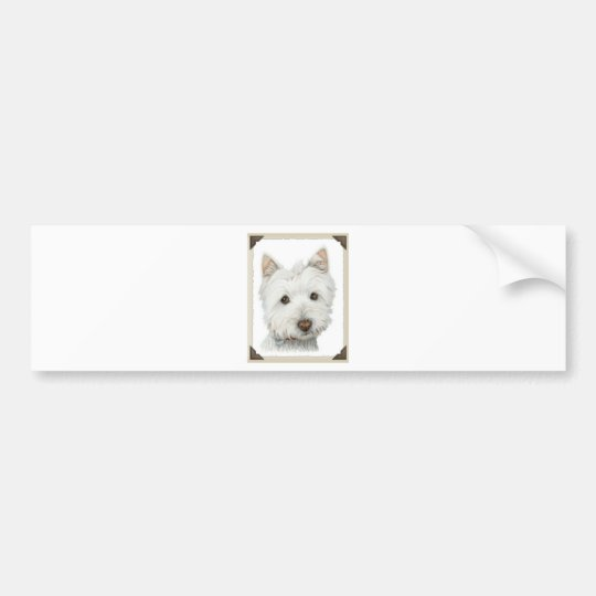 Cute Westie Dog with torn paper edges design Bumper Sticker