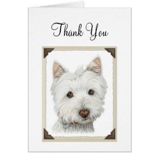Cute Westie Dog with torn paper edges design Card
