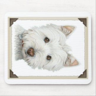 Cute Westie Dog with torn paper edges design Mouse Pad
