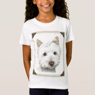 Cute Westie Dog with torn paper edges design T-Shirt