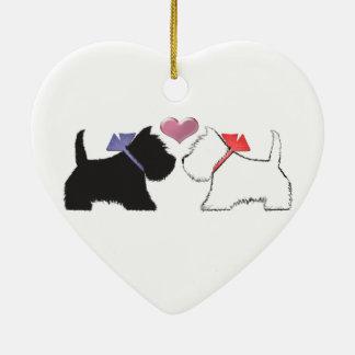 Cute Westie Dogs Art Ceramic Ornament