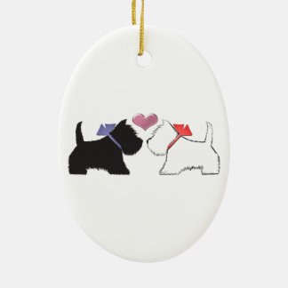 Cute Westie Dogs Art Double-Sided Oval Ceramic Christmas Ornament