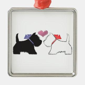 Cute Westie Dogs Art Metal Ornament