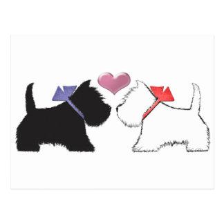 Cute Westie Dogs Art Post Card