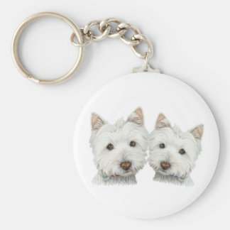 Cute Westie Dogs Basic Round Button Keychain