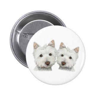 Cute Westie Dogs Pinback Button