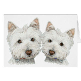 Cute Westie Dogs Greeting Card