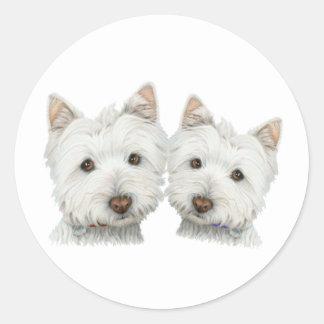 Cute Westie Dogs Classic Round Sticker