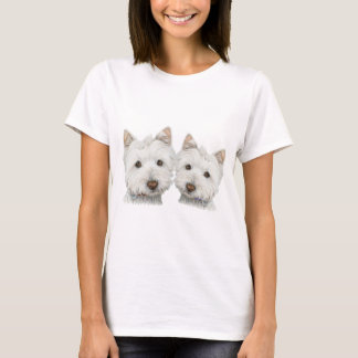 Cute Westie Dogs Ladies T-Shirt