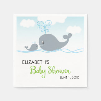 Cute Whale and Baby Whale, Baby Shower Napkin