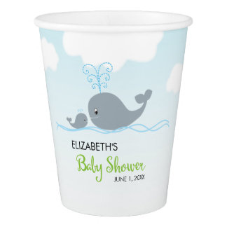 Cute Whale and Baby Whale, Baby Shower Paper Cup