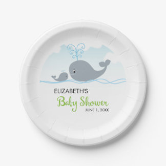 Cute Whale and Baby Whale, Baby Shower Paper Plate