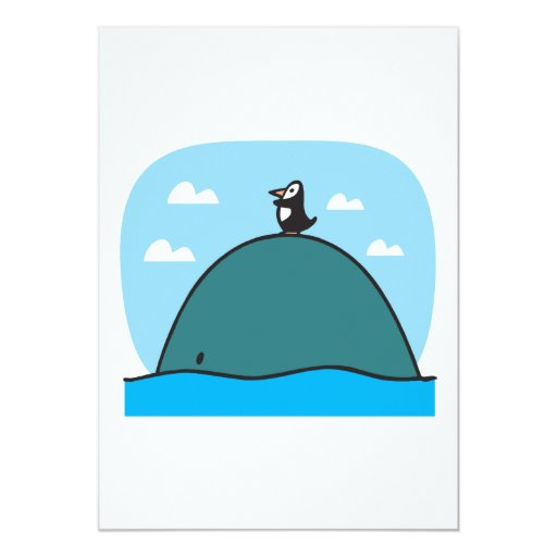 cute whale and penguin 5x7 paper invitation card