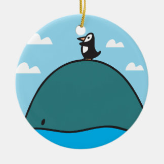 cute whale and penguin Double-Sided ceramic round christmas ornament