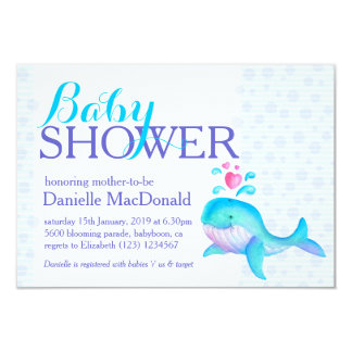 Cute Whale art baby shower aqua purple invitation