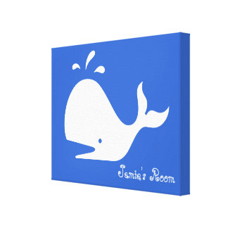 Cute Whale Art: Customizable Text & Color! Canvas Print
