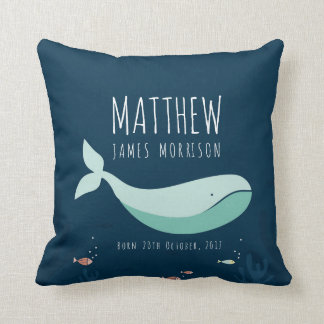 Cute Whale Baby Birth Announcement Pillow