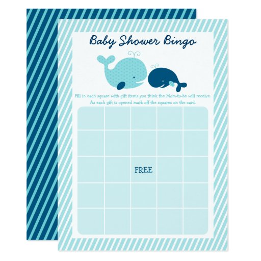 Cute Whale Baby Shower Bingo Game Card