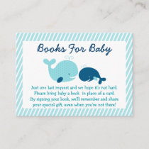 Cute Whale Baby Shower Book Request Cards