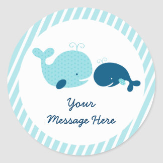 Cute Whale Baby Shower Classic Round Sticker