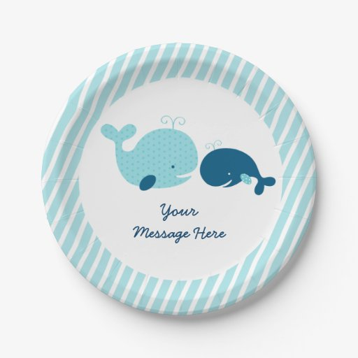 Cute Whale Baby Shower Paper Plate