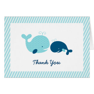 Cute Whale Baby Shower Thank You Card