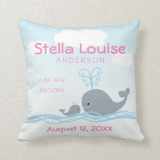 Cute Whale & Baby Whale Newborn Girl Announcement Throw Pillow