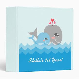 Cute Whale Boy Baby Shower Vinyl Binder