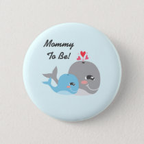 Cute Whale Boy Baby Shower Button