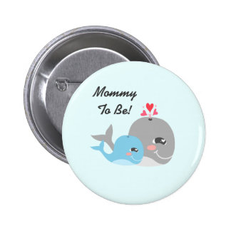 Cute Whale Boy Baby Shower Button