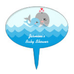 Cute Whale Boy Baby Shower Cake Topper
