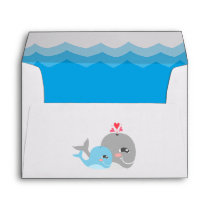 Cute Whale Boy Baby Shower Envelope