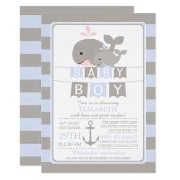 Toddler & Baby themed Cute whale Boy Baby Shower Invitation