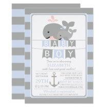 Cute whale Boy Baby Shower Invitation