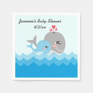 Cute Whale Boy Baby Shower Paper Napkin